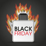 Shopping Bag Black Friday Fire. Shopping bag with text black friday and fire on the dark background Royalty Free Stock Photography
