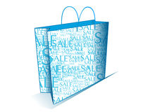 """Blue shopping bag with sale text. An illustration of a blue shopping bag with the text """"sale&#x22 Royalty Free Stock Image"""