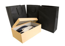 Shopping bag and box. Isolated on white Royalty Free Stock Photos