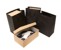 Shopping bag and box with shoes Royalty Free Stock Image