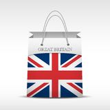 Shopping bag with British flag Stock Photos