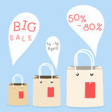 Shopping bag and bubble speech design Stock Photos
