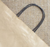 Shopping bag and burlap Royalty Free Stock Photo