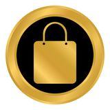 Shopping bag button. Royalty Free Stock Images