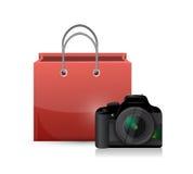 Shopping bag and camera illustration design Stock Image