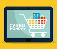 Shopping bag cart tablet and cyber monday design Royalty Free Stock Photography