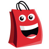 Shopping Bag Cartoon Character Design. Vector Icon Stock Photo