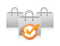 Shopping bag check mark cycle illustration Stock Photography