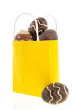 Shopping bag chocolate eggs Royalty Free Stock Image