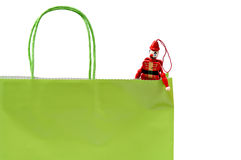 Shopping bag and Christmas ornament royalty free stock images