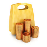 Shopping bag and coins Stock Photography