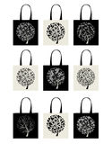 Shopping bag collection, art tree design Royalty Free Stock Photography
