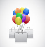 Shopping bag colorful balloons illustration Royalty Free Stock Photos