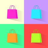 Shopping bag colorful set flat design vector Royalty Free Stock Photography