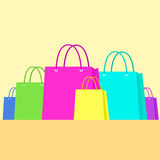 Shopping Bag Colorful Set Flat Design Royalty Free Stock Photos