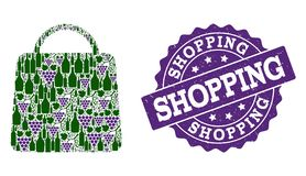 Shopping Bag Composition of Wine Bottles and Grape and Grunge Stamp stock illustration