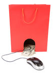Shopping Bag and computer mouse Stock Image