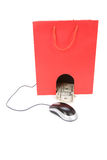 Shopping Bag and computer mouse Royalty Free Stock Photography