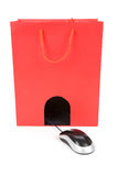 Shopping Bag and computer mouse Stock Photography