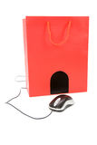 Shopping Bag and computer mouse Royalty Free Stock Photos