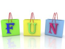 Shopping bag concept with fun Royalty Free Stock Image