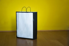Shopping Bag Copy Space Wooden Floor Royalty Free Stock Photos