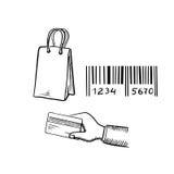 Shopping bag, credit card and barcode sketches Royalty Free Stock Photo