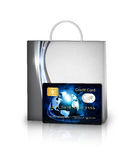 Shopping bag and credit card isolated over white Stock Photography