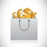 Shopping bag and currency symbols illustration Stock Photos