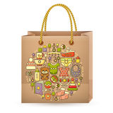 Shopping bag and cute colorful baby icon. Stock Photography