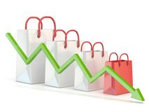 Shopping bag decreasing chart. Sales reduction chart. 3D Stock Image