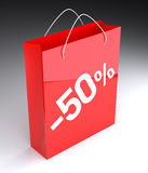 50% Shopping Bag. Digitally Generated Image on black background. 3D Rendering royalty free illustration