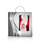 Shopping bag and discount card  over white Royalty Free Stock Images