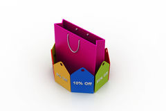 Shopping bag with discount tags Stock Photo