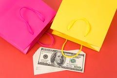 Shopping Bag and Dollar Stock Photos