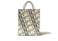 Shopping Bag Dollar Notes Front Royalty Free Stock Photos