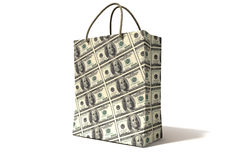 Shopping Bag Dollar Notes Perspective Royalty Free Stock Images