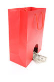 Shopping Bag and dollars Royalty Free Stock Image