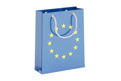 Shopping bag with EU flag, 3D rendering Royalty Free Stock Photo