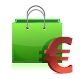Shopping bag and euro symbol Royalty Free Stock Photos
