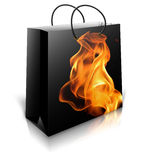 Shopping bag with firey background Stock Photos