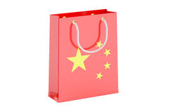 Shopping bag with flag of China, 3D rendering. On white background stock illustration