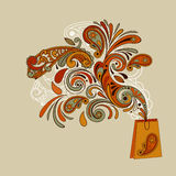 Shopping Bag with Floral Swirl Royalty Free Stock Image