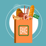 Shopping Bag With Fresh Bakery Pastry Cook Food Stock Image