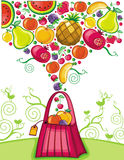 Shopping bag with fruit splash Stock Photography