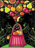 Shopping bag with fruit splash stock illustration