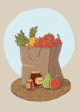 Shopping bag with fruits and vegetables. Vector illustration Stock Photos