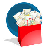 Shopping bag full of money. Shopping bag full of red bills 50, 100 y 200 euros royalty free illustration