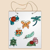 Shopping bag, gift bag with the image of fashionable things. vector illustration