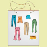 Shopping bag, gift bag with the image of fashionable things. Stock Photos